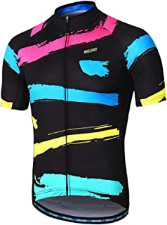 ARSUXEO Men's Cycling Jersey Short Sleeves Mountain Bike Shirt MTB Top Zipper Pockets Reflective