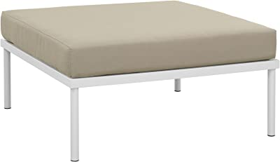 Modway Harmony Aluminum Outdoor Patio Ottoman with Cushion in White Beige