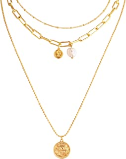 JVLear Gold Layered Necklaces Coin and Baroque Pearl Pendant Layering Paperclip Necklaces for Women Girls