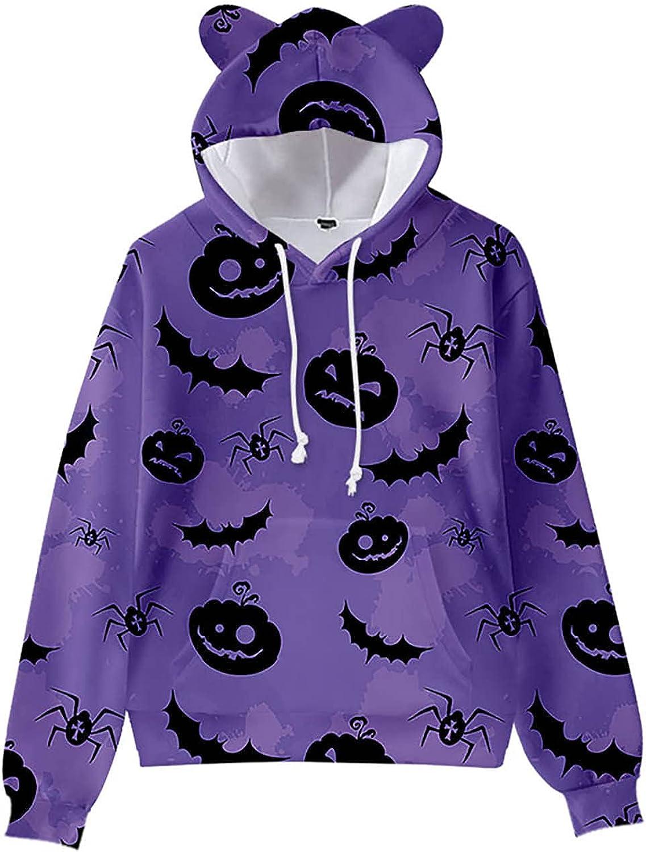 Women's 3D Printed Sweatshirt with Pockets Halloween Cute Funny Graphics Tops Kawaii Cat Ears Pullover Hoodie