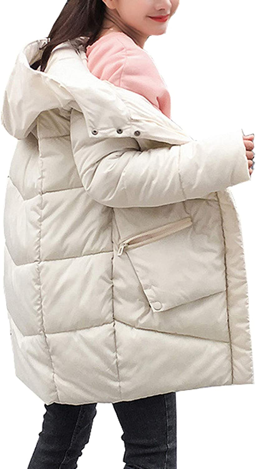 Femaroly Women Winter Quilted Coat Long Loose Thick Down Cotton Jacket