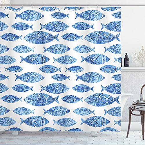"Ambesonne Blue Shower Curtain, Fish Sea Animal with Ottoman Ornate Mosaic Hand Drawn Style Marine Artwork, Cloth Fabric Bathroom Decor Set with Hooks, 70"" Long, Blue White"