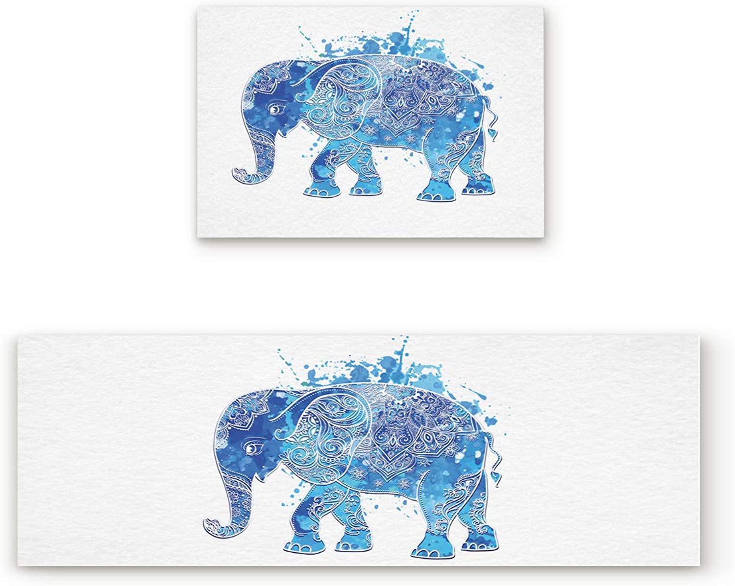 Fantasy Star Kitchen Rugs Sets 2 Piece Floor Mats Mandala Paint Elephant Doormat Non-Slip Rubber Backing Area Rugs Washable Carpet Inside Door Mat Pad Sets (19.7  x 31.5 +19.7  x 63 )