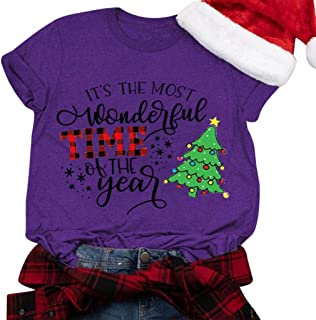 NANTE Top It's The Most Wonderful Time of The Year Baseball T Shirt Womens Xmas Shirts Christmas Tree Graphic Print Tops Plus Size Blouse