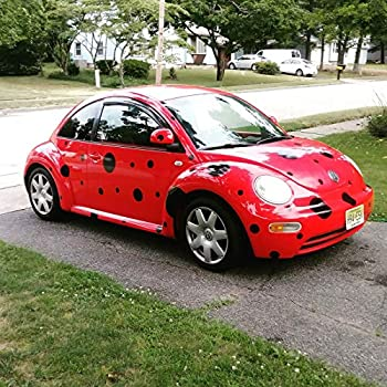 Black Spots Dots 50 Set Decals Stickers 6 Year no Fade Ladybug Costume for Car Any VW Volkswagen Beetle Bug Mini PT
