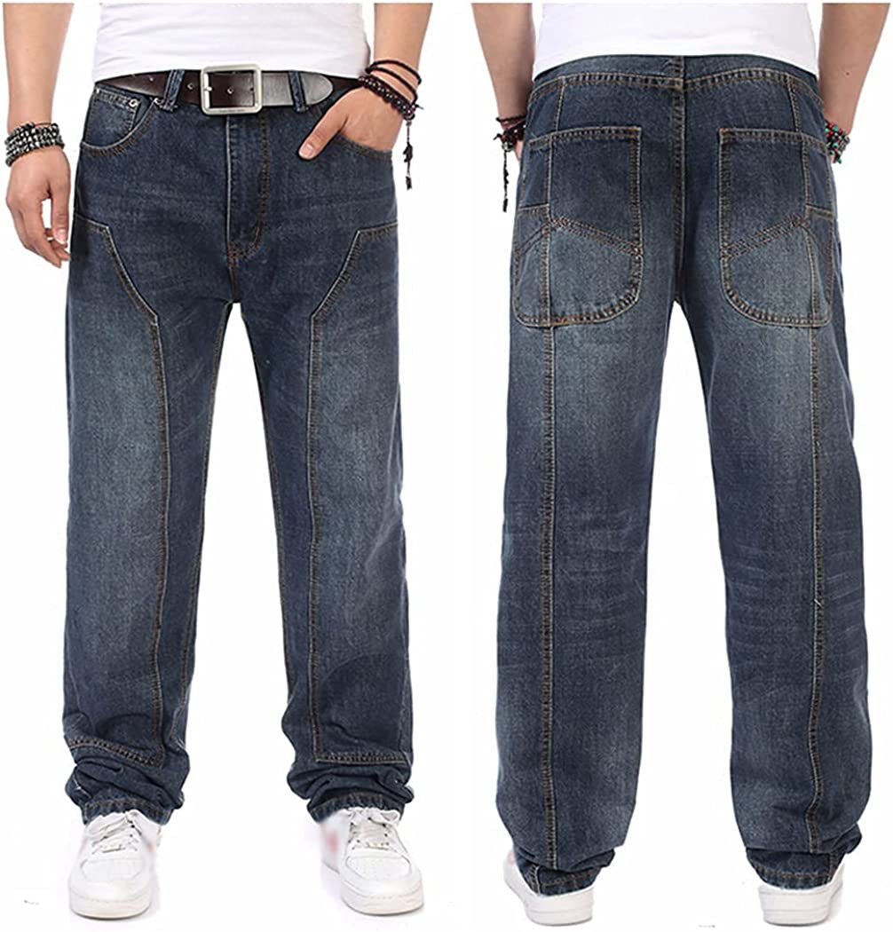 Rayiisuy Plus Size Blue Men's High Max 48% OFF Latest item Casual Trousers Washed Jeans
