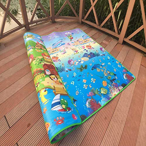 N/C Coussin De Reptile éPais De Bébé, Coussin Anti-humidité De Mousse pour Enfants en Plein Air 3 m *1.8 m/Castle+Square