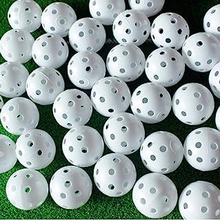 Adwikoso Plastic Golf Training Balls 42 mm Golf Balls for Indoor Putting Green Backyard Outdoor Practice Equipment with 2 ...