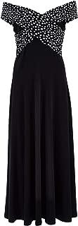 Belle Bird Womens Maxi Dresses Belle Off The Shoulder Spot Trim Dress Spot