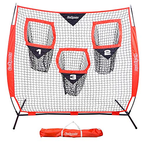 GoSports 6' x 6' Football Training Target Net - Improve QB Throwing Accuracy – Includes Foldable Bow Type Frame and Portable Carry Case
