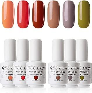 Gellen UV Gel Nail Polish Kit, Popular Fall Autumn Nail Gel 6 Colors - Nail Art Home Gel Manicure Set