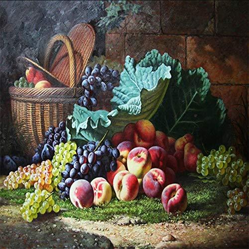 Papel pintado Clásico Clásico Fruta Bodegón Pintura al óleo Mural Sala de estar Cocina Dormitorio TV Papel tapiz de fondo-300cm W x 240cm H(118×94.5inch)