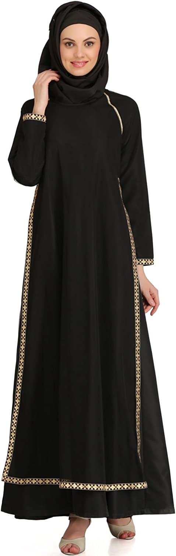 MyBatua Muslim Black Traditional Party & Occasion Wear Abaya Burqa Maxi AY534