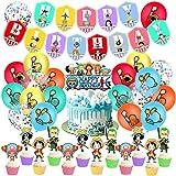 One Piece Geburtstag Dekoration Set,One PieceParty Supplies,Kompakt Happy Birthday Deko Spirale Partykette Luftballon One Piece für Kinder Partydekorationen