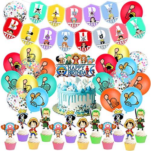 Kit de Decoraciones de Cumpleaños de One Piece Globos de Baby One Piece Globos de Látex de One Piece Cupcake Toppers Pancarta de Fiesta de One Piece Suministros de Fiesta Temáticos de Superhéroes