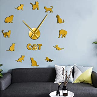 wffmx Divertido Egipcio MAU Cat Graphic 3D DIY Reloj De Pared Gatito Raza Animal Espejo Superficie Acrílico Reloj Reloj Tienda De Mascotas Decoración De Pared-Golden_27Inch