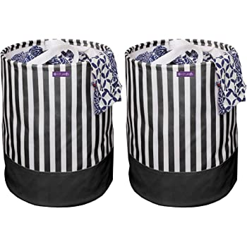 PrettyKrafts Canvas Laundry Bag, Toy Storage, Laundry Storage (45 L) (Set of 2 Pieces)- Black Stripes
