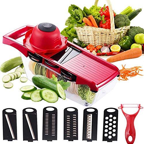 CANBYGO 千切り 野菜スライサー 6機能 6セット スライス 野菜カッター 皮むき器付き 多機能スライサー キッチン用品 安全ホルダー付き 野菜調理器セット 赤