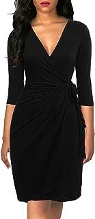 Women's Classic 3/4 Sleeve V Neck Sheath Casual Party Work Faux Black Wrap Dress