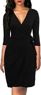 Berydress Women's Classic 3/4 Sleeve V Neck Sheath Casual Party Work Faux Black Wrap Dress