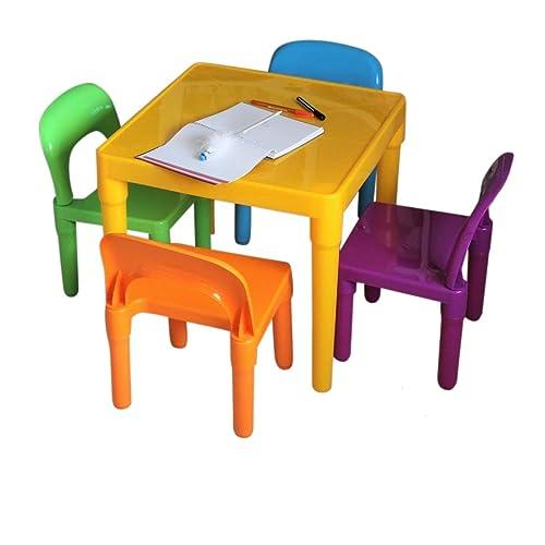HOME HUT, Juego de Mesa y sillas Grandes de plástico para niños – Regalo para