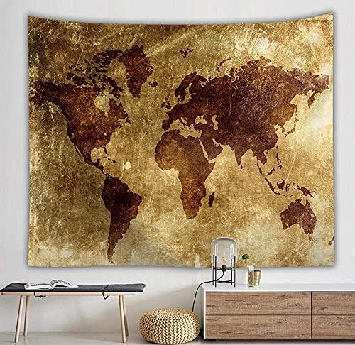 Tapiz de pared, diseño de mapa del mundo bohemio, para colgar en la pared, color marrón dorado, rectangular, para sala de estar, dormitorio