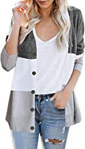 Opinionated Women's Long Sleeve Color Block Front Button Casual Knitted Outerwear Cardigan Sweaters