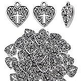 Colgantes Corazones,50 Piezas Huecos De Filigrana Encantos del Corazón con Cruz Encantos Vintages Accesorios para Collares Pulseras Manualidades,Plata Antigua
