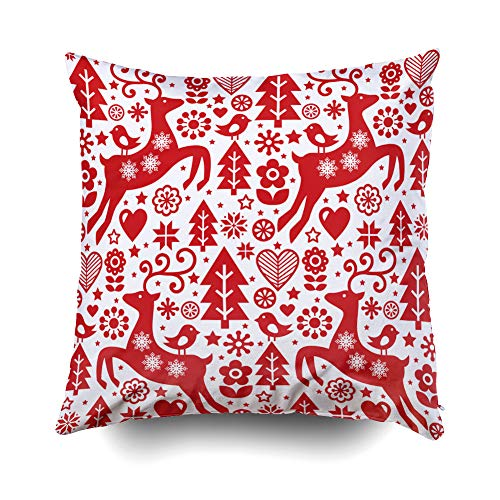 GROOTEY Best Pillow,Square Pillow Covers with Zip Couch Sofa Décor Christmas Folk Red Pattern Scandinavian Folk Art Reindeer Birds Flowers Decoratiwallpaper 16X16 Throw Cushion,Black Turquoise