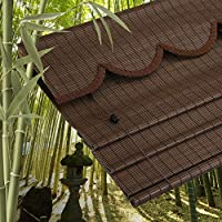 竹のカーテン、プレミアム -ナチュラルウーブン、竹簾 簾 すだれ 、自然環境保護、日よけ 竹すだれ 、シェーディングと換気、窓プライバシーシェード、ローラーブラインド 竹のカーテン、ダークブラウン