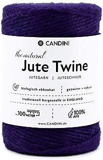 Candini Jutegarn - lila, 100m Bastelschnur - ø 2-3mm reine Jute - Schnur Kordel   Premium Qualität - Made in England - Paketschnur, Dekoration, Garten, Verpackung