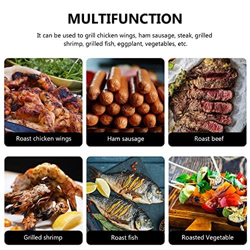 Angoily Wok Redondo a La Parrilla para Cesta de Verduras Accesorios para Barbacoa Herramientas para Barbacoa Herramientas para Freír Camarones Carne Vegetales Utensilios de Cocina para