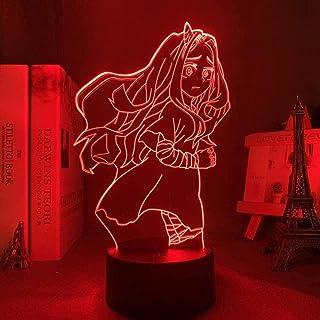 BTEVX My Hero Academia 3D Anime Visual Night Lights para niños Eri Dormitorio Lámpara Regalo de cumpleaños Eri Lámpara 3D 7 colores Touch Illusion Lámpara de mesa