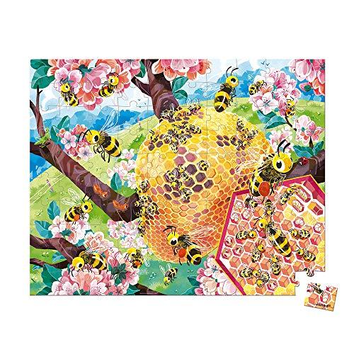 Janod  Puzle Infantil 100Piezas Abejas   Juego Educativo   Fabricado en Francia   Colaboración con WWF   Cartón con Certificado FSC   A Partir de 6años ( J08627)