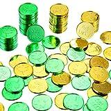 120 Packungen St. Patrick's Day Plastik Münzen Kleeblatt Glück Münzen Grün und Gold Münzen Tisch Streusel für St. Patrick's Day Party Gefallen Bedarf -