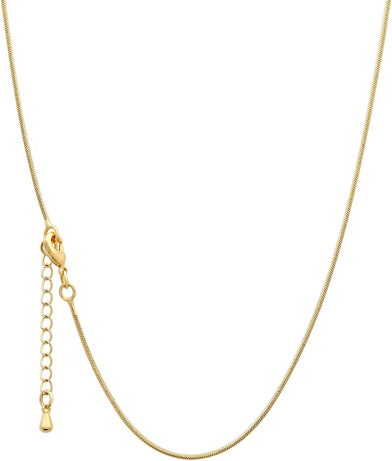 18K Gold Thin Gold Chain Set for Women Gold Plated Thin Snake Chain Gold thin Chain Necklace Round Snake Bone Necklace Italian Necklace