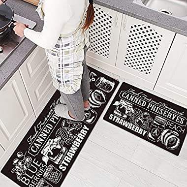 Ustide 2 Pieces Set Smooth Rubber Non-slip Kitchen Rug Runner Coffee Canned Waterproof and Oil Proof Area Rug and Carpet Doormat