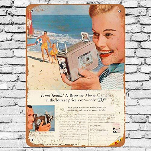 1957 Kodak Brownie Movie Camera Cartel de chapa de metal pintado decoración de pared moderna sala de juegos reglas de la casa cartel de arte de cartel de calle de metal