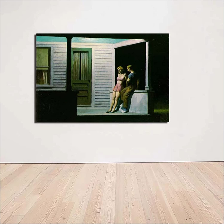 zkpzk Edward Hopper Summer Evening Popular Post Canvas 1 year warranty Painting Wall Art
