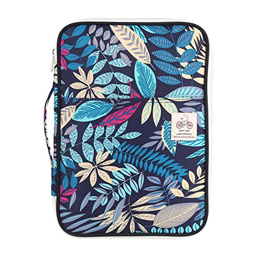 1 Pcs Floral Printed A4 Document Bag, File Folder Portfolio Organizer, Waterproof Document Case for Phone ipads Notebooks Passport Money Pens, Office&Travel, 35 x 25 x 3cm(Navy Blue)