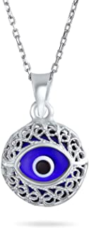 Turkish Protection Vintage Style Navy Blue Filigree Round Evil Eye Charm Pendant Necklace for Women Teen 925 Sterling Silver