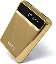 Tech2 Juice Portable Charger, One The Smallest Lightest 5,000 mAh Power Banks, Ultra-Compact, High-Speed Charging Technology 2-Port Charger for iPhone, Samsung Galaxy & More (Gold)