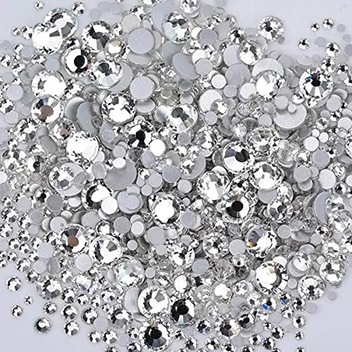 1400pcs Mix Size Mix Color Crystal Flatback Glass Strass Sticker Nail Art Decorazione Gemme Non Hot Fix Strass Stones