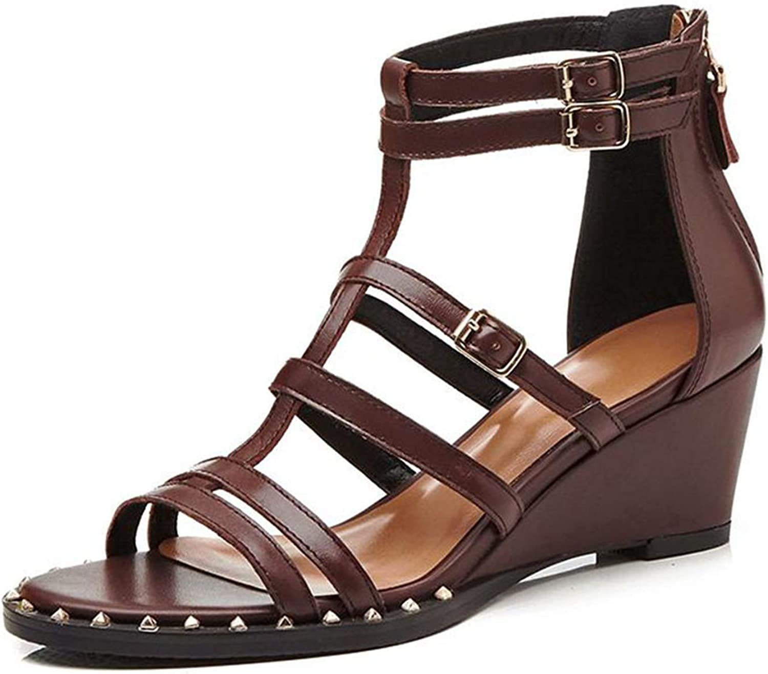 Smile-bi Women Real Leather Gladiator Sandals High Heel Buckle Party Club shoes Women Wedges Summer shoes
