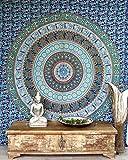 Guru-Shop Boho-Style Wandbehang, Indische Tagesdecke Mandala Druck- Blau/grün, Mehrfarbig, Baumwolle, 225x205 cm, Bettüberwurf, Sofa Überwurf