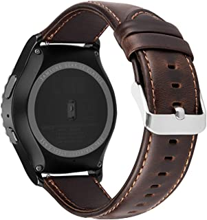 iBazal Gear S2 Classic Leather Band 42mm, Vintage Gear S2 Classic Bands 20mm Genuine Leather Bands Replacement Strap Compatible for Samsung Galaxy Watch/Gear S2 Classic SM-R732/Huawei Watch 2- Coffee