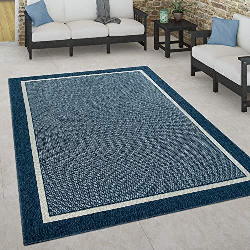 Paco Home Tapis Intérieur & Extérieur Terrasse Et Balcon Style Scandinave Résistant Aux Intempéries, Dimension:120x170 cm, Couleur:Bleu
