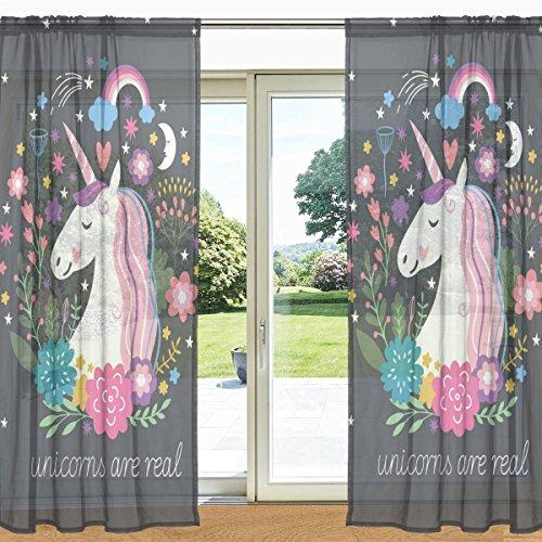 mydaily Floral Einhorn und Regenbogen bedruckt Sheer Fenster und Tür Vorhang 2Felder 139,7x 213,4cm Rod Pocket Panels für Wohnzimmer Schlafzimmer Decor, Polyester, multi, 55