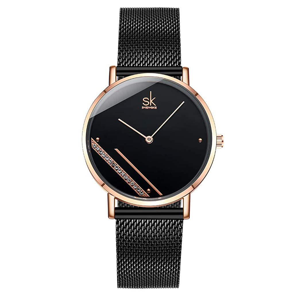 SK SHENGKE Female Mesh Watches Simple Face Stainless Steel Back Case Fashion Ladies Wristwatch on Sale jbyt4034724693
