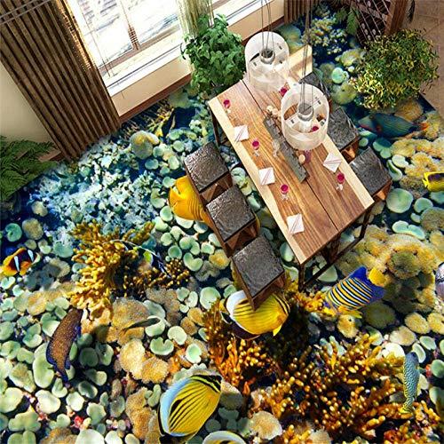 Ocean World zeewier tropische vis 3D vloer schilderij op maat grote fresco PVC waterdichte vloer tegel schilderij 250cm(L) x180cm(W)
